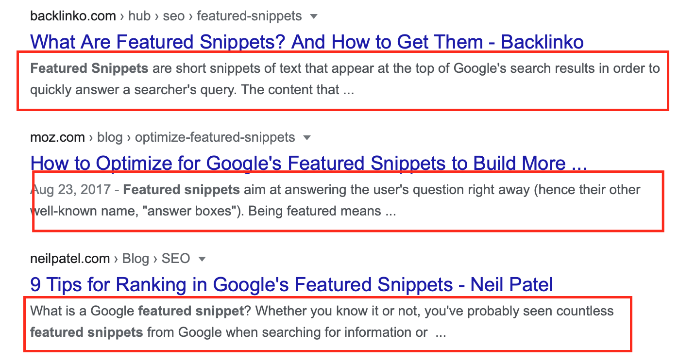 Examples of meta descriptions