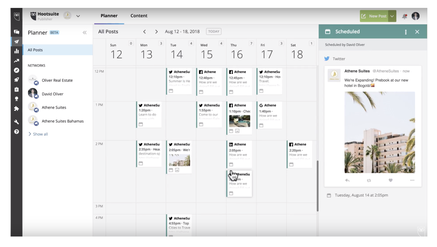 Hootsuite scheduling calendar
